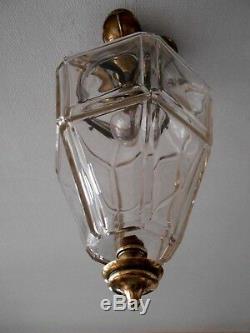 Plafonnier Lustre Art Deco En Verre Et Laiton Hauteur 48cm