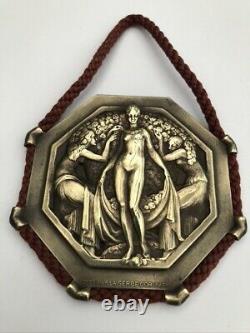 Plaque octogonale Art Déco Pierre TURIN les Trois Graces par la Gerbe D'or