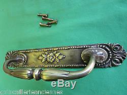 Poignée fixe sur plaque longue 33,1 cm laiton ancienne ART Déco porte d'entrée