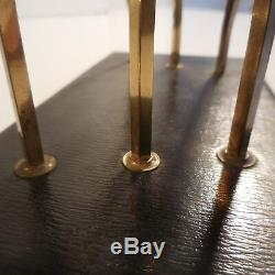 Porte lettre courrier laiton bois basane fait main Art Déco XXe France N3214