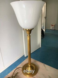 RARE LAMPE de SENATEUR authentique laiton bronze opaline