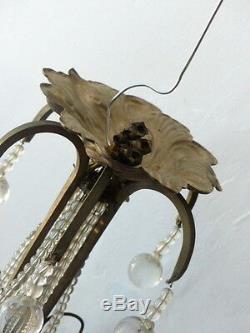 RARE Superbe ancien lustre Suspension plafonnier pampilles 6 feux ART DECO 1930