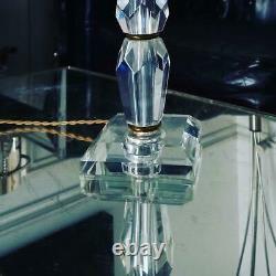 Rare Lampe Cristal Baccarat et laiton Art déco Design Adnet vers 1940