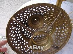 Rare Lampe Laiton & Cuivre Chapeau Coloniale