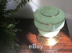 Rare Vintage Lampe Globe Art Deco Sur Socle Laiton Original Rétro Shade