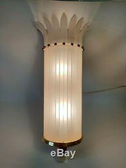 Rare ancienne superbe grande lampe applique murale en laiton art déco