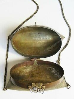Rare grande minaudière laiton micro-perforé 1920
