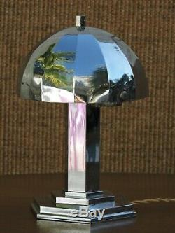 Rare lampe champignon Art Déco en laiton nickelé Moderniste MORAND PARIS