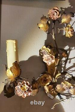 Ravissante Paire D'appliques Laiton Fleurs Porcelaine NIII