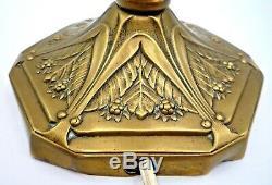 SCHNEIDER-Lampe art nouveau deco, laiton décor floral, gallé, lalique, sabino, muller