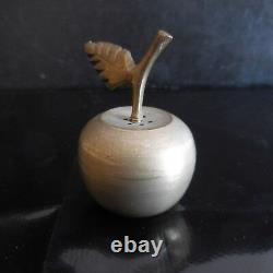 Salière poivrière pomme poire cuivre laiton fait main Art Déco France N3215