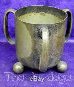 Sceau a Glace Art Deco Pot Rond Laiton Argente 1,1kg H=17,5cm Diam=14cm Inde