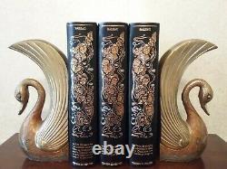 Serres livres anciens Art Deco en laiton massif emaille