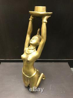 Statuette statue bougeoir chandelier Laiton doré l'Africaine-Nu Art déco RARE #4