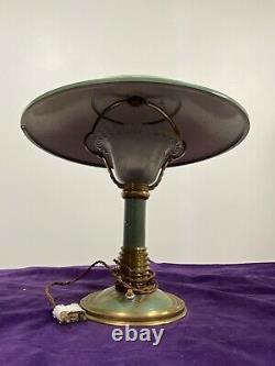 Superbe Lampe Champignon Métal Laiton Et Verre Epoque Art Déco