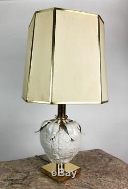 Superbe Lampe D'époque Art Déco En Laiton Et Porcelaine En Forme De Cucurbitacée