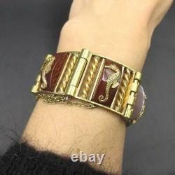Superbe bracelet art déco, Jean Painlevé, laiton doré et bakélite hippocampes