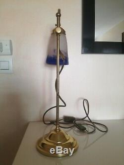 Superbe grande lampe DEGUE Art Déco pate de verre et laiton réglable 55 cm