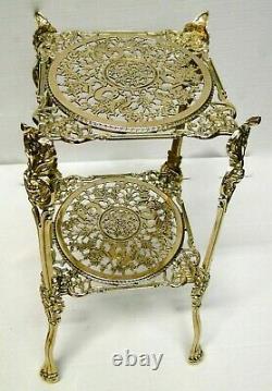 Table D'Appoint Antique en Laiton Support de Fleur 46x25 Téléphone