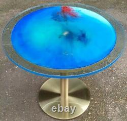 Table à Manger Cristalline Diam. 70 cm Bleue