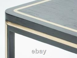 Table basse Art deco bois noir peint et laiton vers 1940