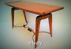Table basse art-déco 1940s Noyer, ivoirine, entretoise laiton 107 x 48 H 54 cm