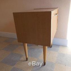 Table chevet meuble Art Déco 1950 bois laiton SEMB made in France N3812