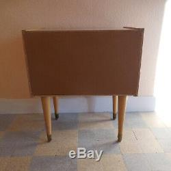 Table chevet meuble Art Déco 1950 bois laiton SEMB made in France N3812