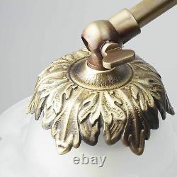 Tischleuchte Chambre à Coucher Lampe en Laiton Verre Bronze Floral Déco Art
