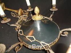 Tres Beau Lustre Style Empire Napoleon Bronze Laiton Tôle Vert Brun Palmette