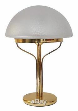 Très Élégant Art Déco Lampe de Banquiers Champignon Table en Laiton