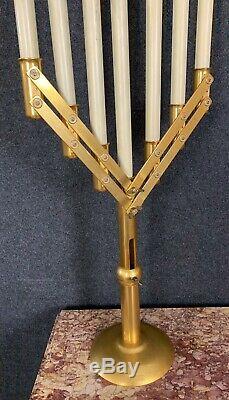 Très rare paire de bougeoirs d'eglise époque art Deco en laiton doré