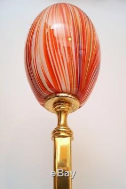 Unique Art Déco Lampe de Table Rouge & Vert Laiton Lampe Berlin Art Nouveau