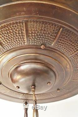 Unique Original Art Déco Plafonnier Lampe à Suspension Paroisse 1900 en Laiton