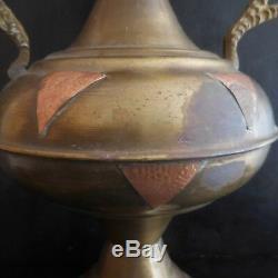 Vase amphore cuivre laiton fait main orient art nouveau déco PN France N2890
