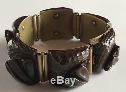 Vintage 588mS Art Déco Profond Sculpté Chocolat Marron Bakélite Laiton Bracelet