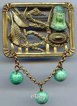 Vintage Art Déco Égyptien Femme & Serpent Laiton Verre Vert Pendantes Broche