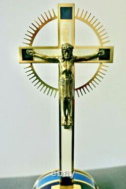 Vintage Erhard & Söhne Germany Art Déco Croix Crucifix Laiton Jésus Époque 1930