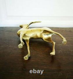 Vintage Magnifique Cerf En Laiton Statue Sculpture Hauteur 26 Cm Brass Deer