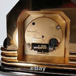 Vintage Tres Belle Pendule Style Art Deco Imhof Suisse 2826 Laiton Dore Et Noir