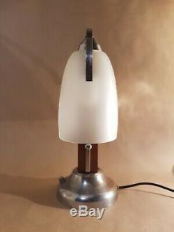Vintage double art déco lamp, bois, laiton chromé et verre givré, France 1930s