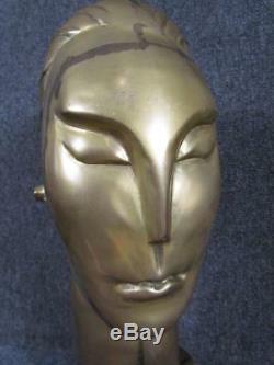 Vintage non Signé Laiton Art Déco Buste École de Franz Hagenauer, Autrichien